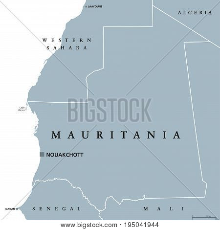 Mauritania political map with capital Nouakchott. Islamic republic and Arab country in the Maghreb region of Western Africa.  Gray illustration isolated on white background. English labeling. Vector. stock photo