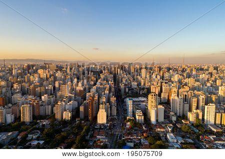 Aerial View of Sao Paulo city, Brazil stock photo