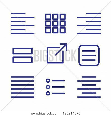 Justified type icon set - left justified right justified full & centered and UI UX icons stock photo