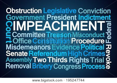 Impeachment Word Cloud on Blue Background stock photo