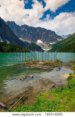 Beautiful mountain landscapes from hiking in the Taylor and O'Brien Lakes area of Banff National Parks Alberta Canada stock photo