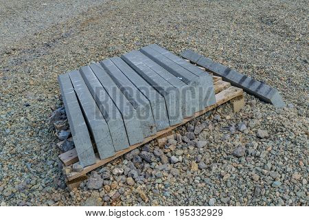Curb stone on construction site preparation for laying stock photo