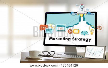 Marketing Strategy Technology Business Man Working On Laptop Computer Digital Marketing Concept