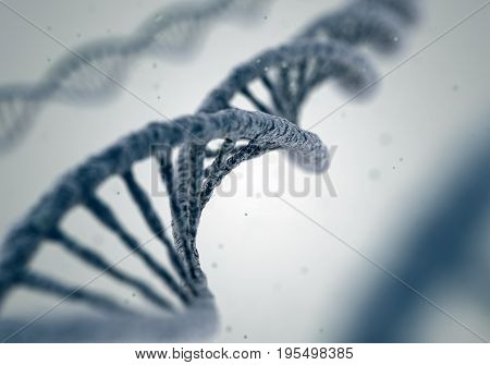 DNA molecule spiral structures on abstract white background. Biology, science and medical technology concept. 3D illustration