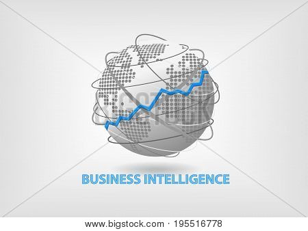 Business Intelligence (BI) concept vector with world stock photo
