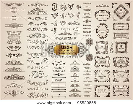 Vintage page dividers old crest and frames. Calligraphic Design logo set. Vector flourishes illustration. Border, royal ornament, decor menu elements, card invitations, labels, Restaurant and Cafe