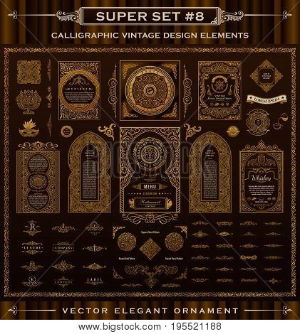 Calligraphic Design logo set. Vintage crest Gold elements. Vector flourishes illustration. Border frame collection royal ornament page divider, menu card, invitations, labels, Restaurant, Cafe, Hotel
