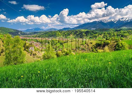 Spring alpine landscape with green fields Bran village Transylvania Romania Europe stock photo