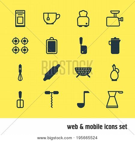 Vector Illustration Of 16 Restaurant Icons. Editable Pack Of Soup Spoon , Wine Opener, Handmixer Elements. stock photo