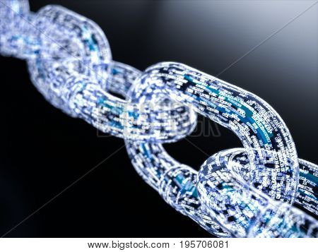 Blockchain digital illuminated shape. Big data node base concept. 3d rendering illustration