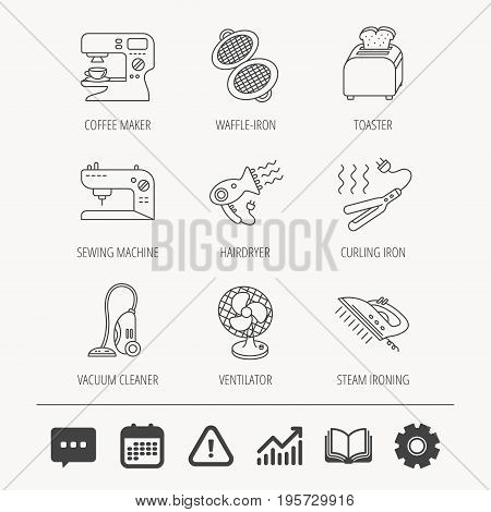 Coffee maker, sewing machine and toaster icons. Ventilator, vacuum cleaner linear signs. Hair dryer, steam ironing and waffle-iron icons. Education book, Graph chart and Chat signs. Vector stock photo