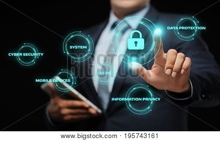 Businessman press button. Cyber Security Data Protection Business Technology Privacy concept