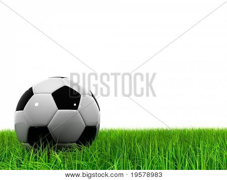 3d soccer ball on green grass isolated on white background, ideal for sport and leisure designs stock photo
