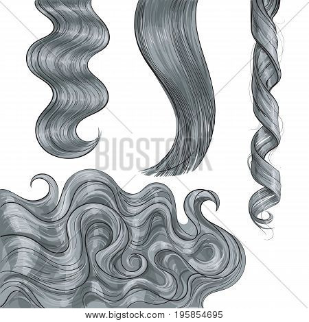 Set of shiny long grey fair straight and wavy hair curls, sketch style vector illustration isolated on white background. Set of hand drawn realistic healthy, shiny grey, flaxen hair curls stock photo