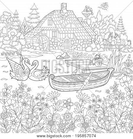Coloring book page of rural landscape flower meadow lake farm house ducks kitten swans horses frog storks. Freehand drawing for adult antistress colouring with doodle and zentangle elements. stock photo