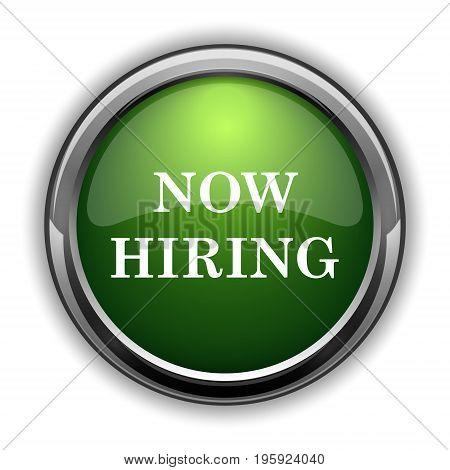 Now hiring icon. Now hiring website button on white background stock photo
