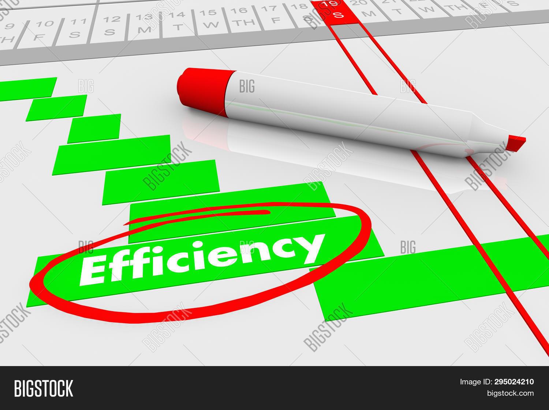 Efficiency Improve Effectiveness Plan Gantt Chart 3d Illustration
