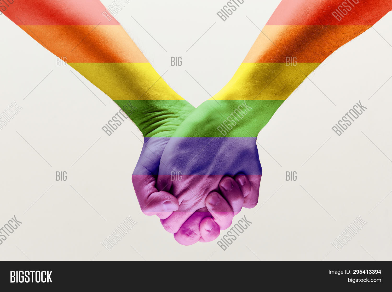 Right To Choose Your Own Way. Loseup Shot Of A Gay Couple Holding Hands, Patterned As The Rainbow Fl
