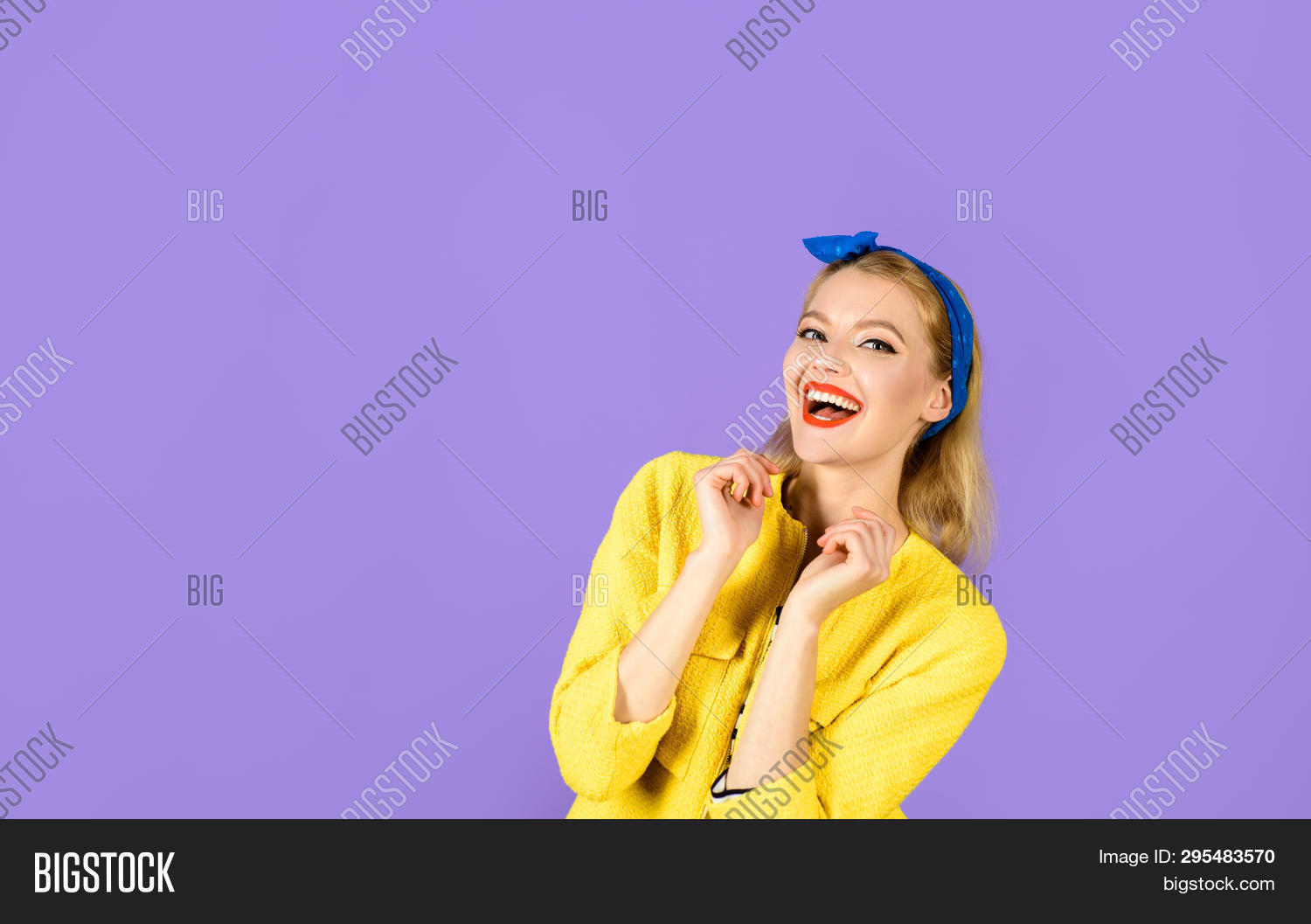 Smiling Woman Dressed In Pin-up Style. Retro Fashion And Vintage Concept. Pin-up Girl. Expressive Fa