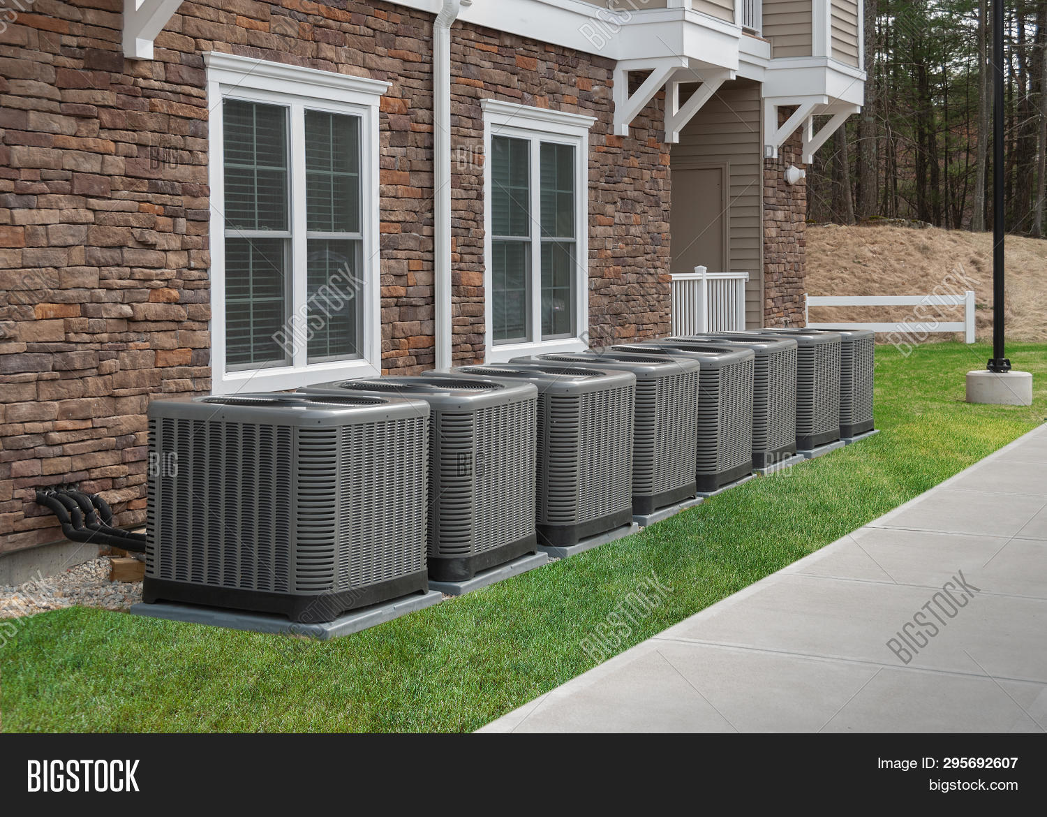Heating and air conditioning units used to heat and cool an apartment complex