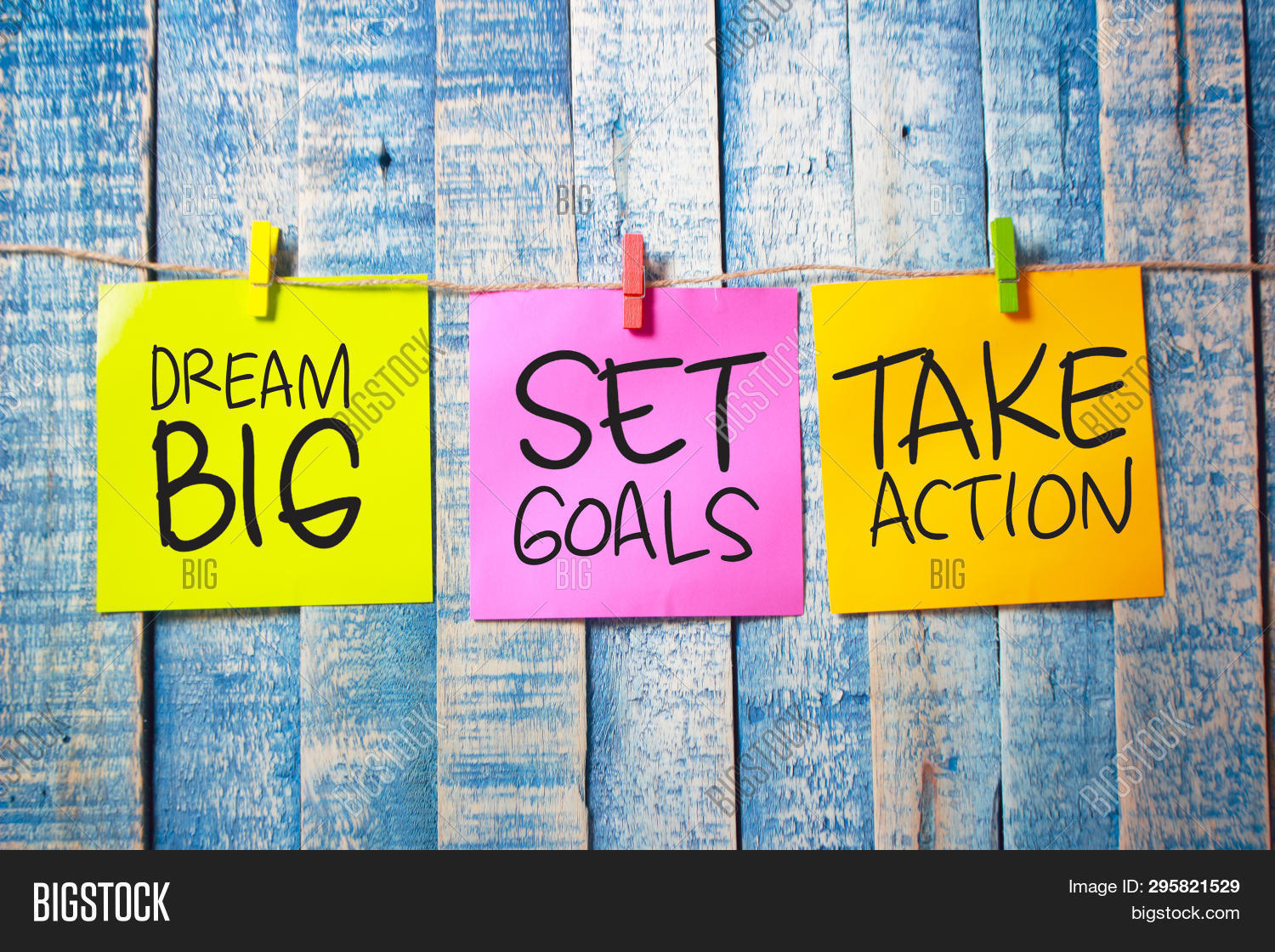 Dream Big Set Goals Take Action Words Letter. Motivational Business Typography Quotes Concept