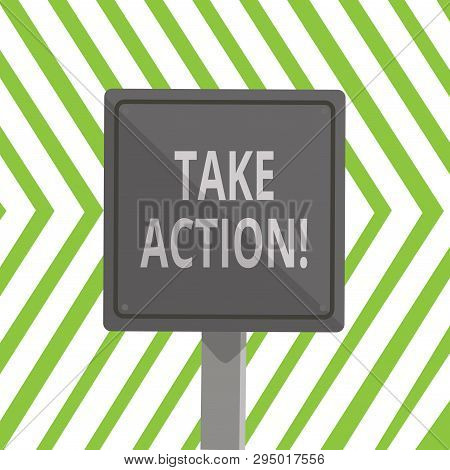 Word writing text Take Action. Business concept for do something official or concerted to achieve aim with problem 3D Square Blank Colorful Caution Road Sign with Black Border Mounted on Wood. stock photo