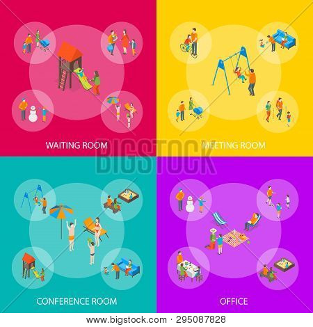 Families Spending Free Time 3d Banner Set Isometric View. Vector stock photo
