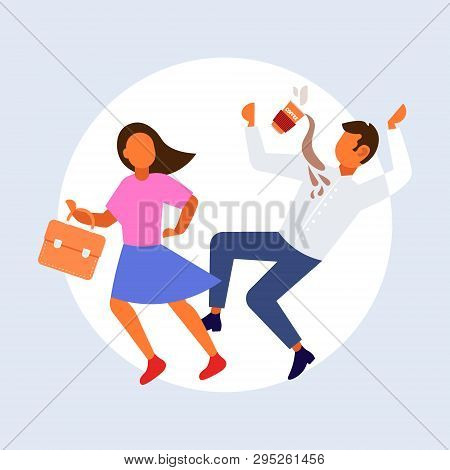 woman knocking man with coffee cup falling down failure accident concept male female cartoon characters full length flat stock photo