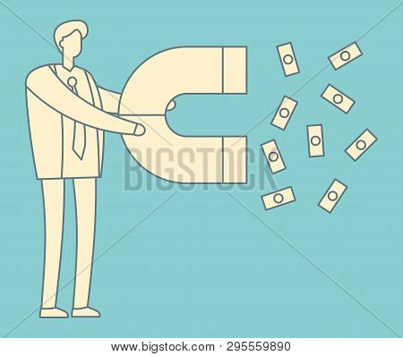 Lead generation outline concept. Magnet in hand attracts money. Sales and leads, marketing vector vintage illustration. Magnet attract money, marketing development vector retro concept stock photo