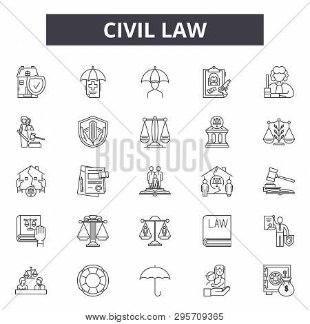 Civil law line icons, signs set, vector. Civil law outline concept, illustration: lawyer, business, law, judge, criminal, civil, court, line stock photo