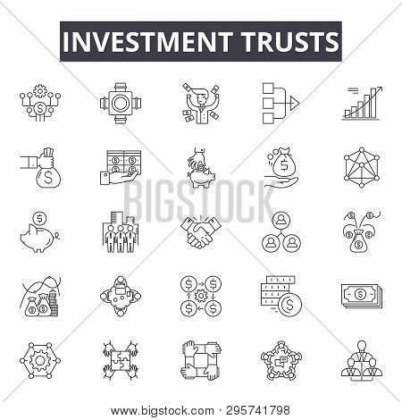 Investment trusts line icons, signs set, vector. Investment trusts outline concept, illustration: investment, trust, business, money, finance, concept, financial, symbol stock photo