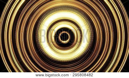 Shining golden rings in pulsating motion on black background, seamless loop. Animation. Abstract yellow shimmering circles beating endlessly. stock photo