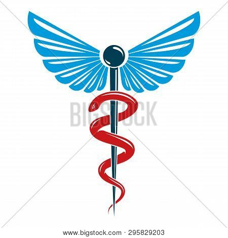 Aesculapius vector abstract emblem composed using wings and snakes best for used in pharmacy advertisement. stock photo