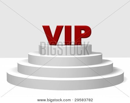 3d red letters VIP on a white pedestal with four steps stock photo