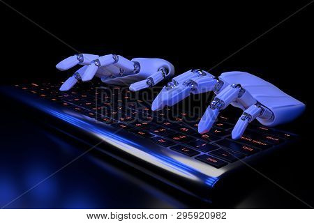Bionic hands typing on keyboard. Robotic arm cyborg using computer. 3d render illustration. Bionics technology concept. stock photo