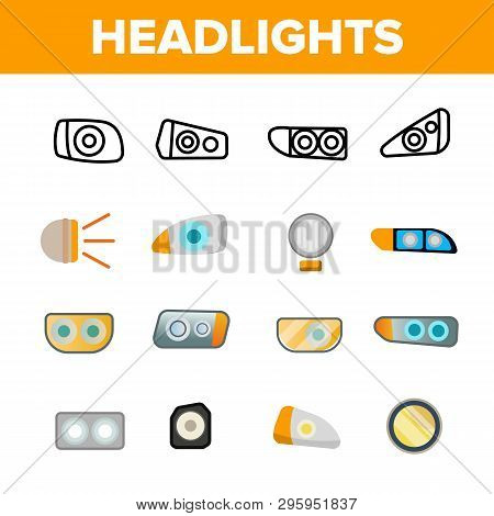 Headlights, Auto Headlamps Linear Vector Icons Set. Headlamps Thin Line Contour Symbols. Automobile Lighting Pictograms Collection. Front Autolamps Flat Cliparts. Car Spotlights Outline Illustrations stock photo