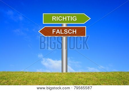 Sign showing directions: right or wrong in german language stock photo