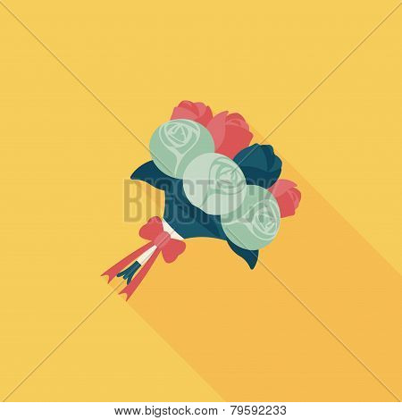 Wedding Flower Bouquet Flat Icon With Long Shadow,eps10