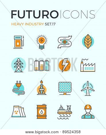 Line icons with flat design elements of power and energy heavy industry factory production oil extraction renewable energy develop. Modern infographic vector logo pictogram collection concept. stock photo