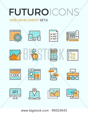 Line icons with flat design elements of responsive website development web programming process API interface coding mobile app UI making. Modern infographic vector logo pictogram collection concept. stock photo