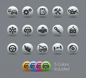 Car Service Icons. Silvery Series. It incorporates 5 shading variants for every symbol in diverse la