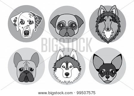 black and white icons of different breeds of dogs stock photo