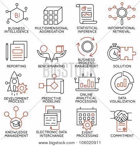 Vector set of 16 icons related to business management strategy career progress and business process. Mono line pictograms and infographics design elements - part 25 stock photo