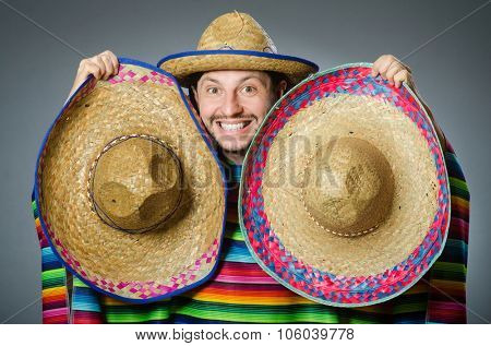 Funny mexican wearing sombrero hat stock photo