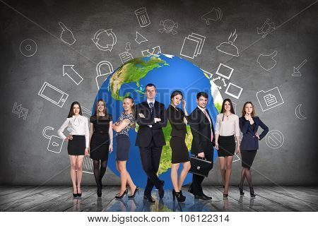 Businesspeople in the gray room and earth behind