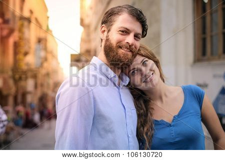 Happy woman with her boyfriend