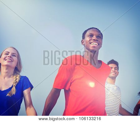 Diversity Teenagers Friendship Holding Hand Concept