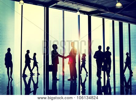 Business People Commuter Walking Handshake Greeting Concept