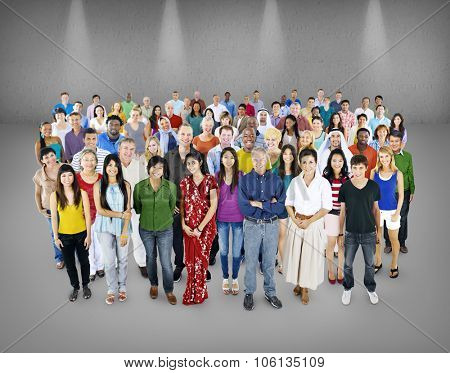 Large group of Multiethnic people Community Concept