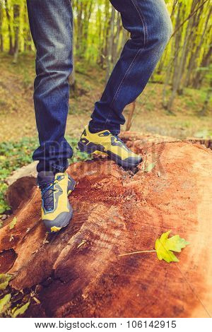 Foot Man Walking On Fall In The Park On Autumn Leaves. Lifestyle Fashion Fashionable Style.